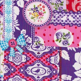 Stofcoupon PS05 patchwork paars 33 x 33cm