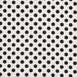Stofcoupon ZW07 wit-zwart polkadot 33x33 cm