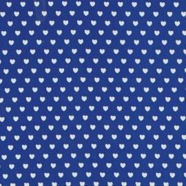 Stofcoupon BM06 blauw-wit hartje 33 x 33 cm