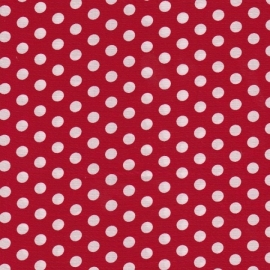 Stofcoupon RD08 rood-wit polkadot 33 x 33 cm