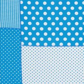 Stofcoupon TQ13 patchwork turquoise 33 x 33cm