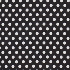 Stofcoupon ZW06 zwart-wit polkadot 33x33 cm