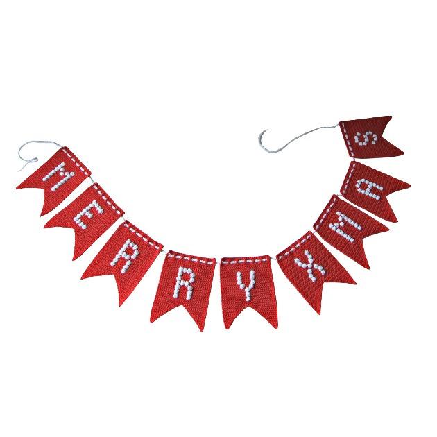 Haakpatroon nr. 107 vlaggenlijn 'Happy Birthday, Merry X mas & Hoera'