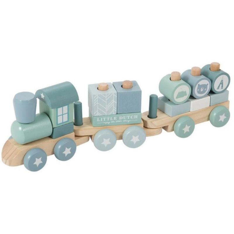 Gepersonaliseerde houten trein, blauw