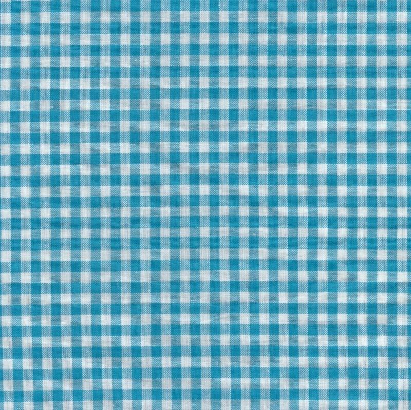 Stofcoupon TQ03 turquoise-wit ruitje 33 x 33 cm