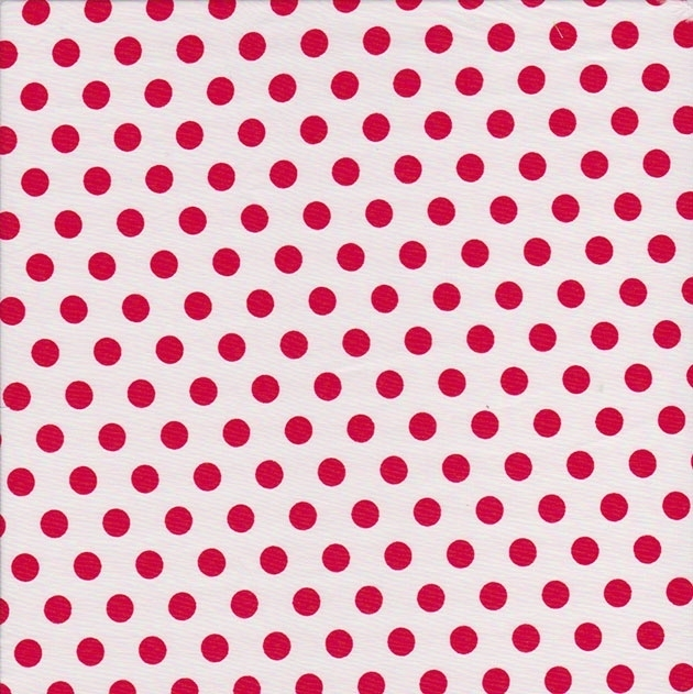 Stofcoupon RD09 wit-rood polkadot 33 x 33cm