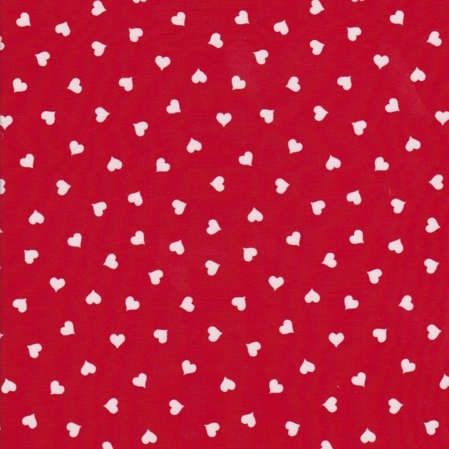 Stofcoupon RD11 rood-wit hartje 33 x 33cm
