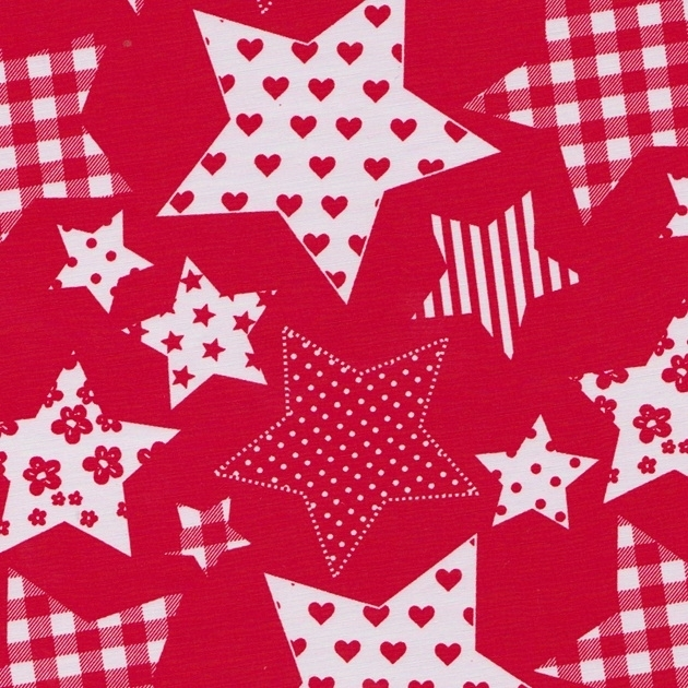 Stofcoupon RD16 rood patchwork ster 33 x 33 cm