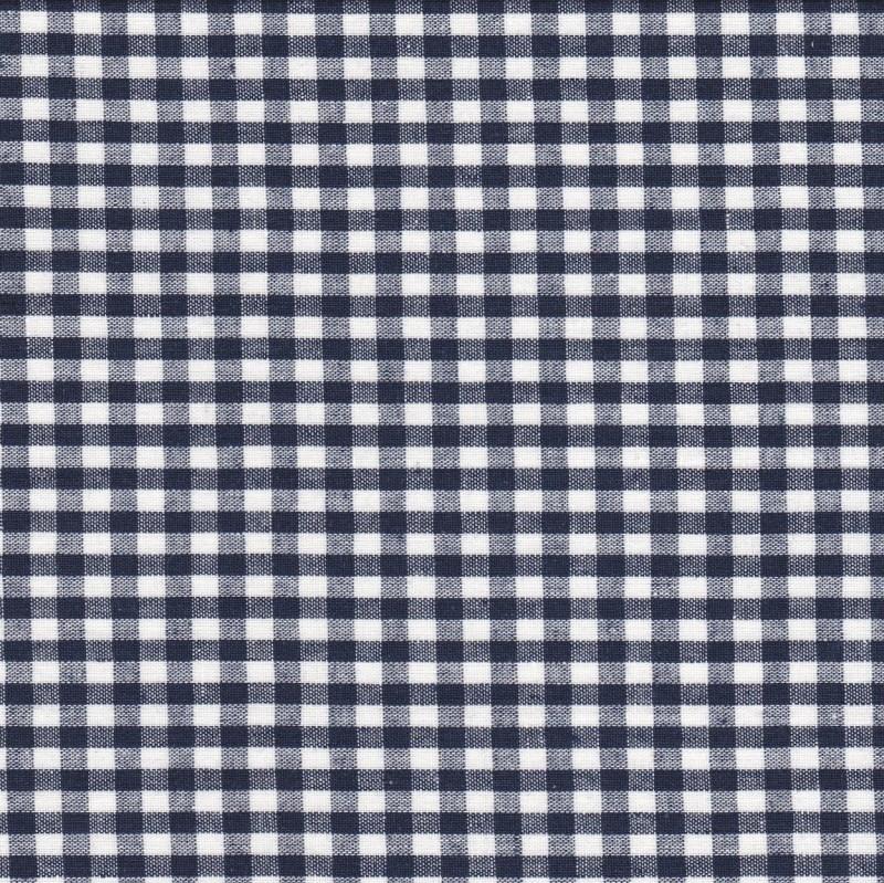 Stofcoupon BD02 donkerblauw-wit ruitje 33 x 33 cm