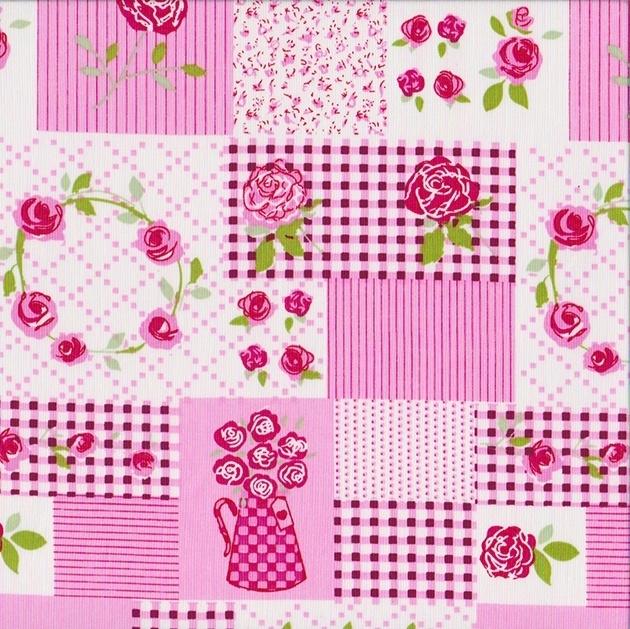 Stofcoupon RZ19 patchwork roze 33 x 33cm