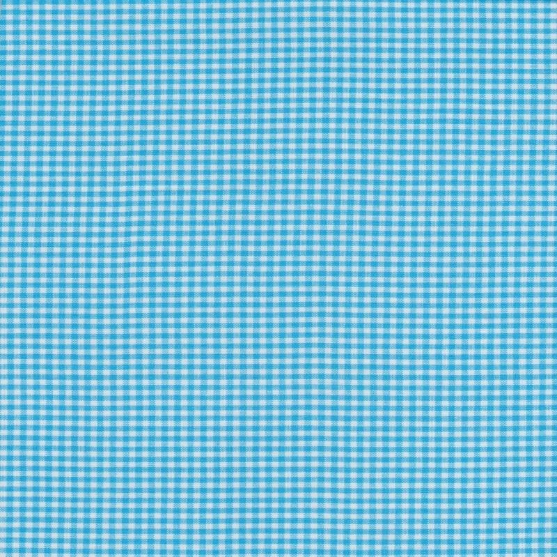 Stofcoupon TQ11 turquoise-wit ruitje 33 x 33 cm