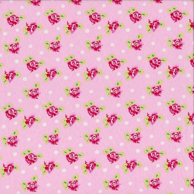 Stofcoupon RZ18 bloem-roze  33 x 33cm