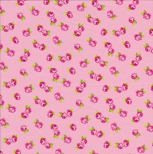 Stofcoupon RZ16 bloemen roze 33 x 33cm
