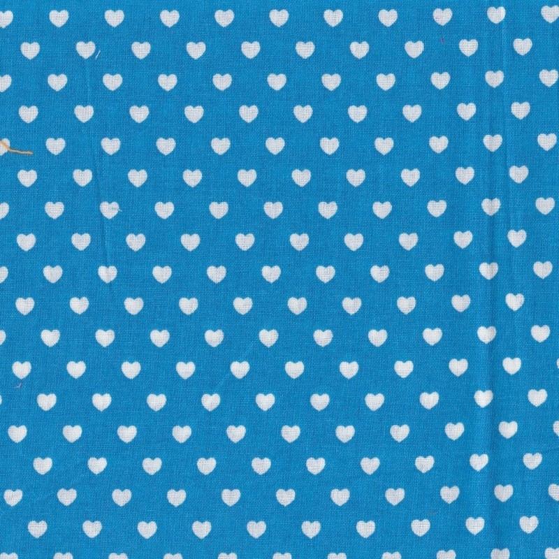 Stofcoupon TQ02 turquoise-wit hartje 33 x 33 cm