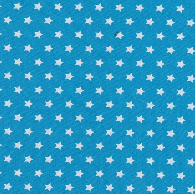 Stofcoupon TQ04 turquoise-wit sterretje 33x33 cm
