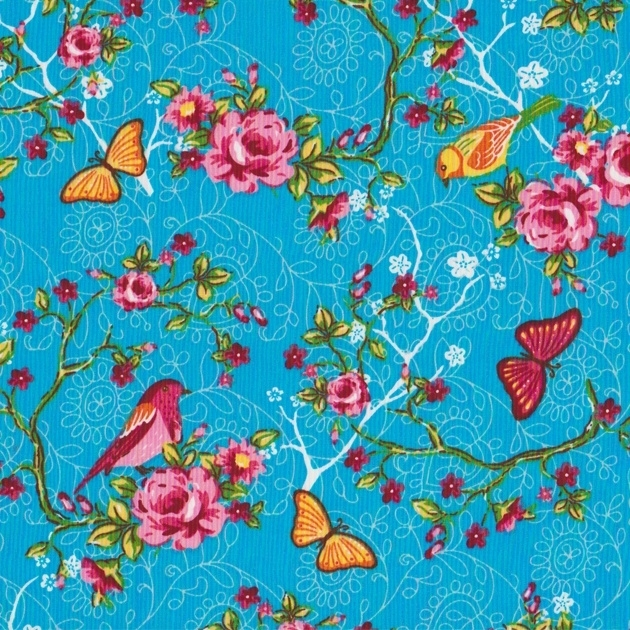 Stofcoupon TQ10 turquoise vogel & roos 33 x 33cm