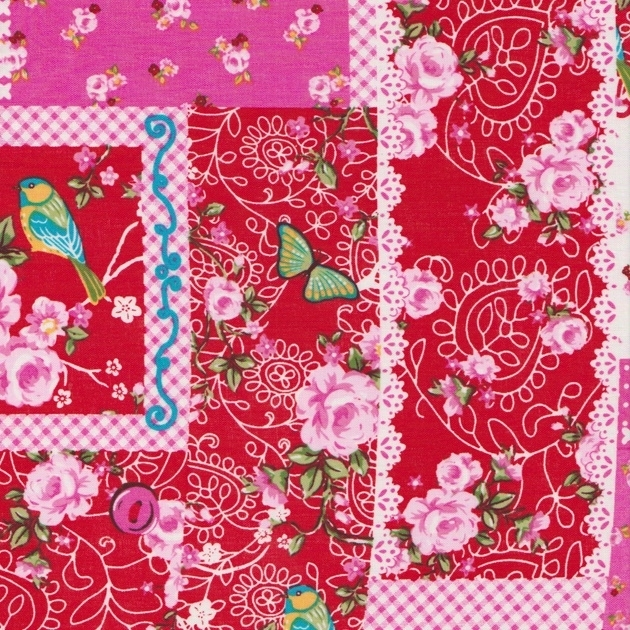 Stofcoupon RD17 rood patchwork 33 x 33 cm