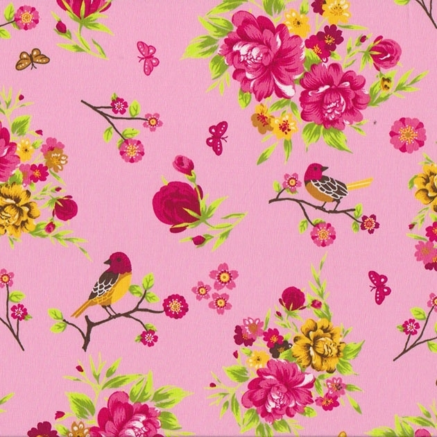 Stofcoupon RZ17 bloemen-vogel roze 33 x 33cm