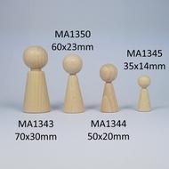 Kegelpopje taps 35 x 14 mm met nekje. Blank hout