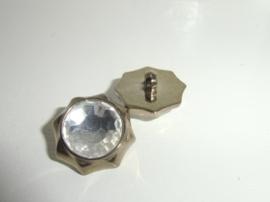 Knoop- kunststof -goudkleurig-achthoek met plaksteen facet geslepen