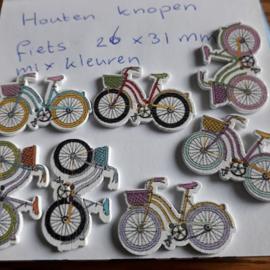 Houten knopen fiets , mix 26 x 31 mm