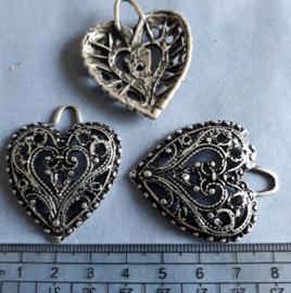 Hart, bedel boho style antiek zilver kleurig , 437