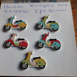 Houten knopen scooter, 27 x 20 mm