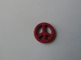 Vrede / Peace teken, Rood.natuursteen kraal,