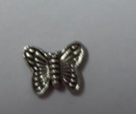 Vlinder, metalen kraal 11 x 9mm.