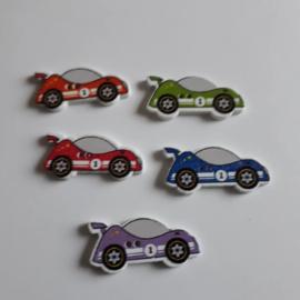 Houten knoop, Raceauto 30 x 14 mm.....mix kleuren