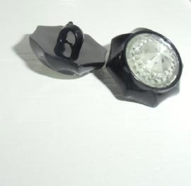 Knoop- kunststof - zwart-achthoek met plaksteen facet  en strass