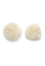 pluizenbollen, pompons  135 mm gebroken wit