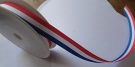 Rood wit blauw,  Ribslint 10 mm breed.