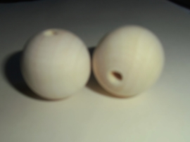 Houten Kralen, ca 30mm, gat grootte 5mm.