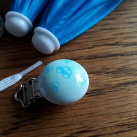 Speen - of bretel clip, blauwgroen met auto