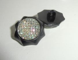 Knoop- kunststof - zwart-Achthoek met strass plaksteen