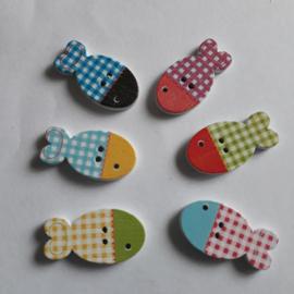 Houten knoop, vis...24 x 13 mm mix kleuren
