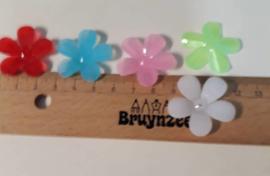 Bloemen van kunststof, leuk om te versieren met stampers of kralen, ca 30 mm mix van 5 kleuren