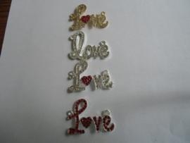 Love met hartje en strass- diversen kleuren