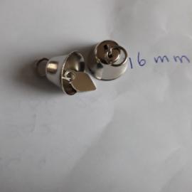Belletje klokvormig zilverkleurig 16 mm