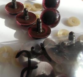 Veiligheidsoogjes bruin zwart  10 mm. prijs is per paar.