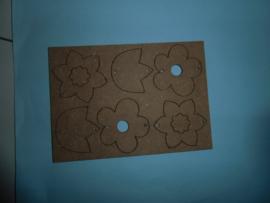 MDF A6 uitdrukbare figuurtjes bloem
