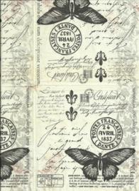 Servet  98- Briefpapier met vlinder