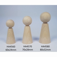 Kegelpopje taps 80 x 32 mm met nekje. Blank hout