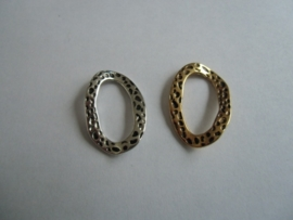 Ringen- 18 x 28 mm. Oud goud- of Oud zlverkleurig