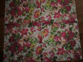 Servet 35, nostalgie bloemen roze rood