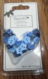 Knoopjes -blauw,  30 op kaartje papermania.