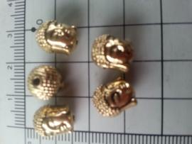 Boeddha,  kraal metaal,ca 7,5 x 7 mm (oogje ca 1,5 mm)  .goudkleur