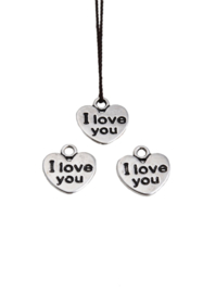 hartje met tekst I love you 12 xx11mm