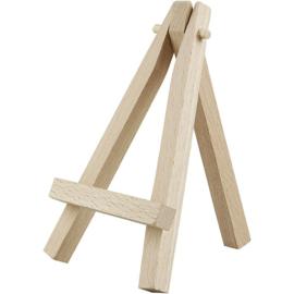 ezel mini  van hout voor het presenteren van miniatuur kunst. . h: 12 cm